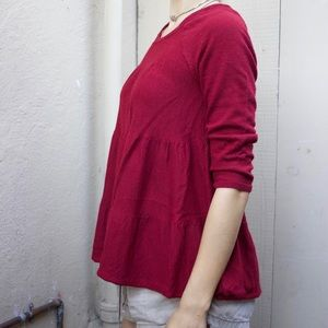 Anthropologie Wool Quarter Sleeve Tiered Blouse-M